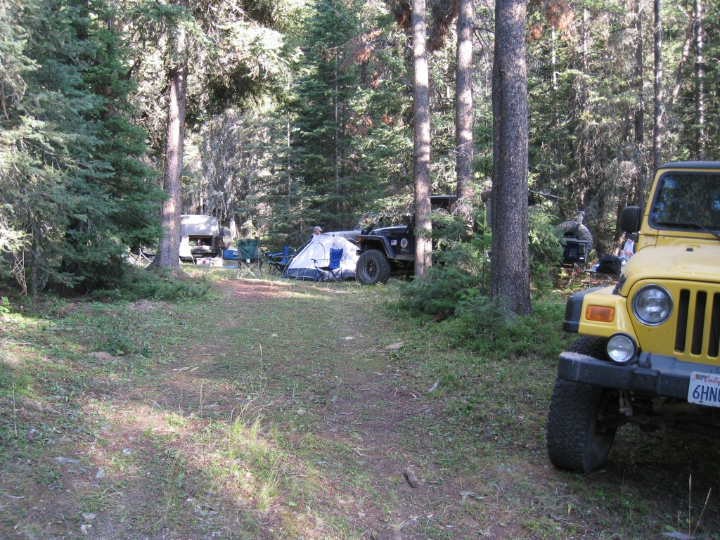 Jeeps and tents in camp