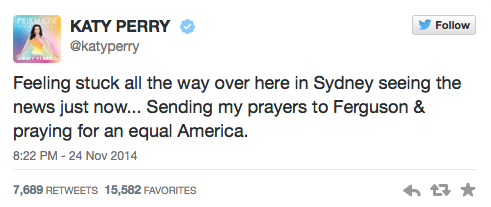 Katy Perry Tweets about Ferguson