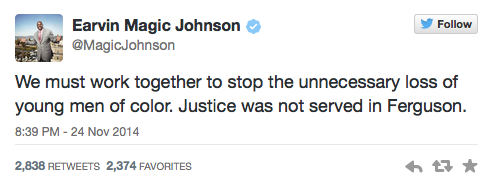 Magic Johnson Tweets about Ferguson