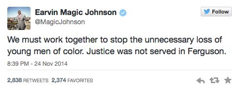 Magic Johnson Tweets about Ferguson
