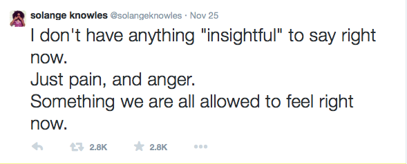 Solange Knowles Tweets about Ferguson