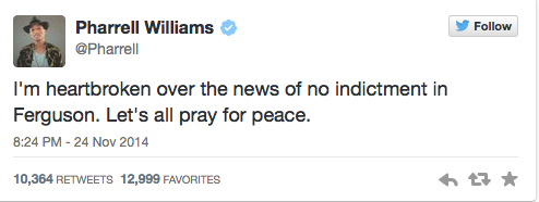 Pharrell Williams Tweets about Ferguson