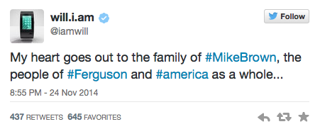 Will.i.am Tweets About Ferguson